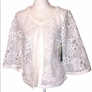 LUii Large Eyelet Floral white jacket - NWT